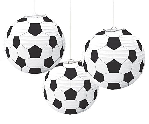 Amscan Soccer Goal Birthday Party Paper Lanterns Decoration (3 Piece), Black/White, 11.9 x 11