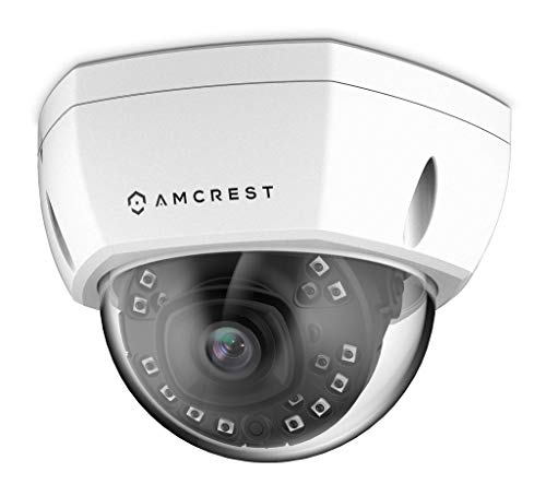 (Amcrest UltraHD 4K (8MP) Outdoor Security POE IP Camera, 98ft NightVision, 2.8mm Lens, IP67 Weatherproof, IK10 Vandal Resistant Dome, MicroSD Recording, White (REP-IP8M-2493EW) (Renewed))