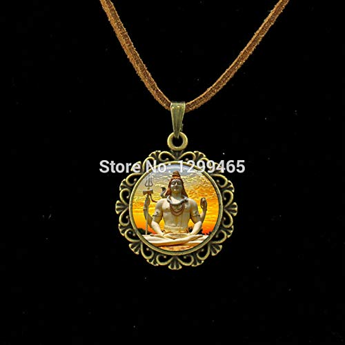 - Choker Necklaces - Indian Buddha Statue Jewelry Lord Shiva Necklace Glass Dome Pendant Zen Jewelry Hinduism pulseras Leather Necklace L 473 - by Mct12-1 PCs