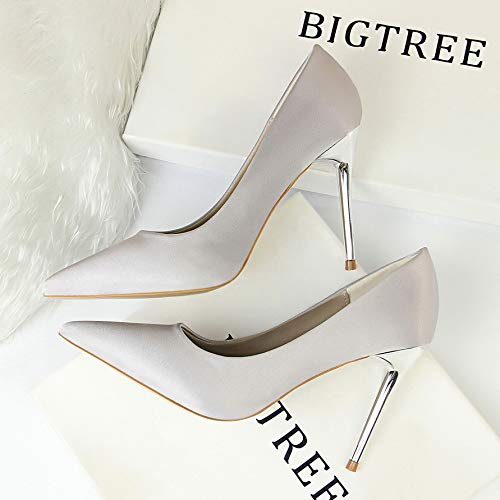 Yukun Grasa Pies De Tacón Gran De Alto De zapatos Salvaje De Individuales Tamaño tacón Mujer Zapatos con Gray Otoño De alto de 4xrqnFw4