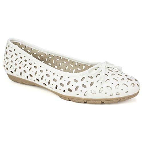 RIALTO Shoes Garry Women's Flat, White/Smooth, 6 M ()