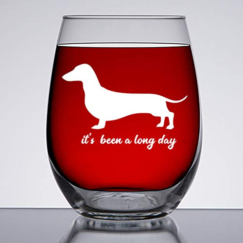 Dachshund Gifts - Funny Large 15oz Stemless Wine Glass -It's Been A Long Day- Gift for Wiener, Weiner Dog/Daschund Daushaund Lovers