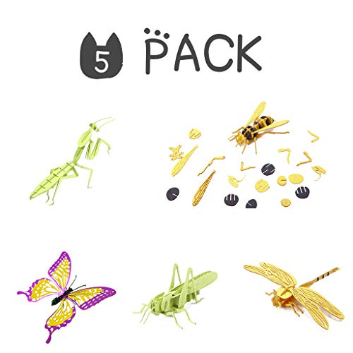 3D Paper Puzzles Jigsaw DIY Puzzle Kit for Adults and Kids Insects 5 Set
