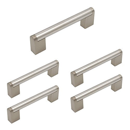 homdiy Cabinet Handles Brushed Nickel 5 Pack 3-3/4 in Hole Center HDJ14BSS European Style Boss Bar Cabinet Hardware Brushed Nickel Drawer Pulls Stainless Steel Kitchen Door Handles - Shaker Knob