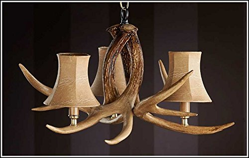 Ozark 3 Light, 3 Antler Chandelier by Hughes Products Company