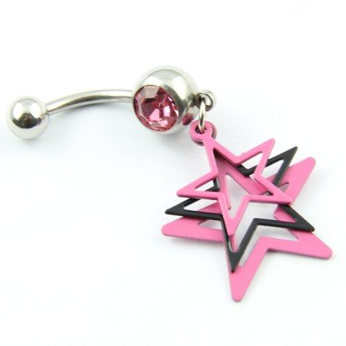 Cristaux rose Calibre 14 3 couches en étoile piercing arcade Piercing de nombril