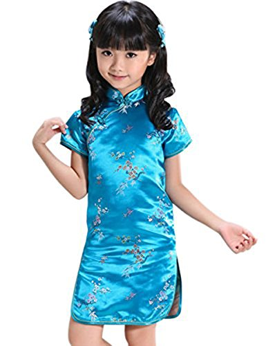 [Suimiki Girls Kids Plum Flower Bamboo Chinese Qipao Cheongsam Dress Costume Blue 6] (Halloween Costumes For Asian Women)