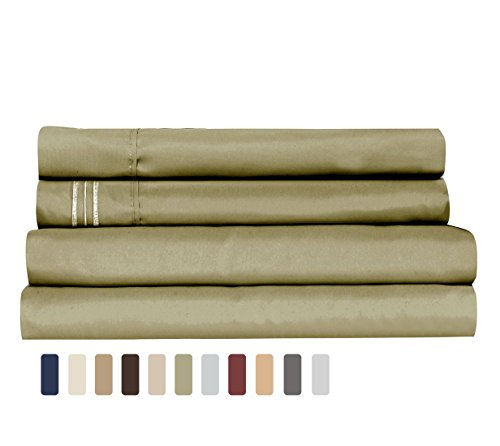 Supreme Quality Ultra Soft Brushed Microfiber Bed Sheet Set Twin 4 Pieces (1 Deep Pocket Fitted Sheet, 1 Flat Sheet, 2 Pillowcases) Fade Stain Resistant Decorative Embroidery Bedding Solid Sage Green (Vintage Flat Sheet)