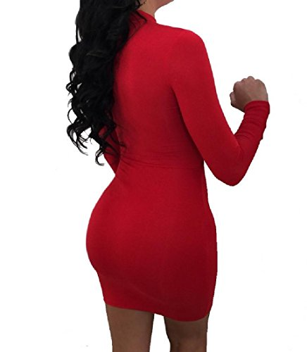 Rouge Confortables Solide Creuse Club Crayon Robe Femmes Vogue Robe Moulante Sexy wUFn1vqrU