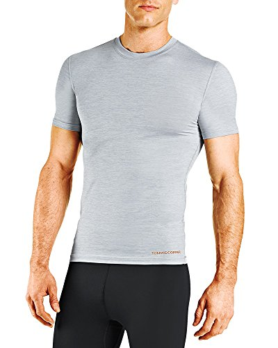 Tommie Copper Mens Core Short Sleeve Crew Shirt, Silver Heather, XX-Large