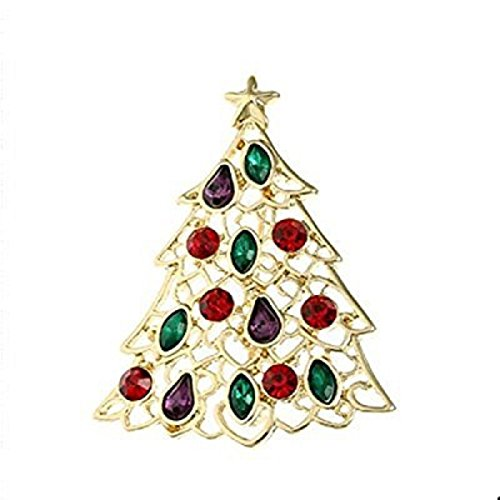 Liz Claiborne Jewelry (Liz Claiborne Goldtone Multi Color Christmas Tree Pin)