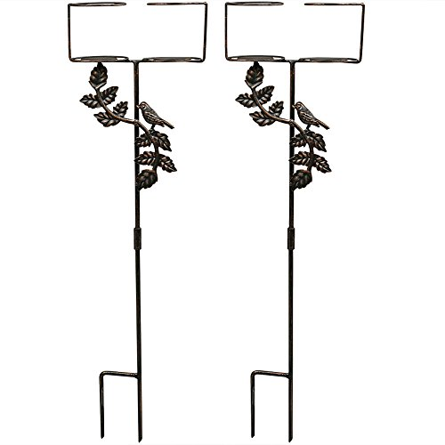 Sunnydaze Dual Outdoor Drink Holders with Bird Decorative...