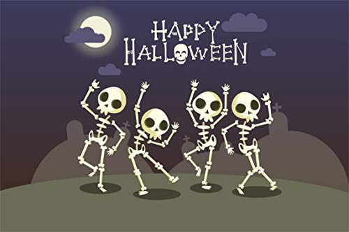 Leyiyi 7x5ft Gothic Happy Halloween Backdrop Cartoon Trick or Treat Banner Full Moon Skull Dance Gtave Stone Cross Photography Background Scary Carnival Banquet Photo Studio Prop Vinyl -