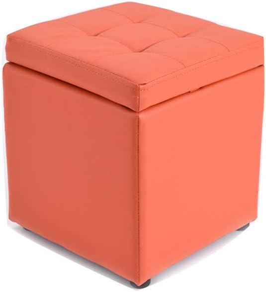Visual Taste Tufted Leather Square flip top Storage Ottoman Cube Foot Rest for Living Room Bedroom The Door ???-Orange 303035CM
