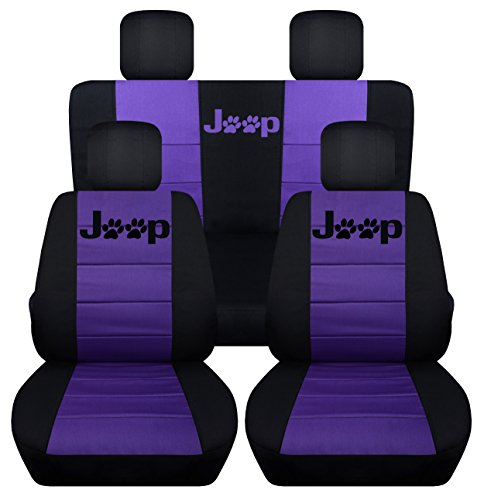Designcovers Fits 2013 to 2017 Jeep Wrangler 4 Door Paw Print Seat Covers 21 Color Options (Black and Purple)