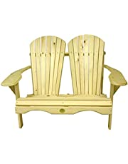 Eastern White Pine Loveseat Chair (Classic Adirondack) - Two Seaters, Minimal Maintenance and FSC Certified Eastern White Pine - Made in the Muskoka Region of Ontario, Canada and Created For Indoor or Outdoor Use