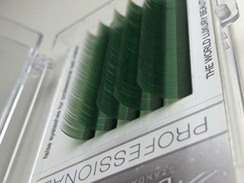 Eyelash Extensions, Green color, C curl 0.07mm/9-13mm, Mix Tray, Individual Volume Eyelash Extensions