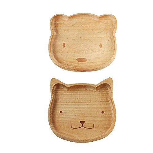 MonkeyJack Natural Wooden Kids Plate Baby Feeding Set Includes Bear Cat Shape Animal Wood Plates
