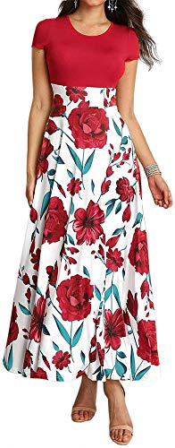 LunaJany Women's Fashion Short Sleeve Empire Waist Floral Print Pullover Maxi Dress Large red