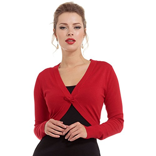 Womens-Voodoo-Vixen-Elle-Cropped-Bolero-Cardigan-With-Front-Bow-Red