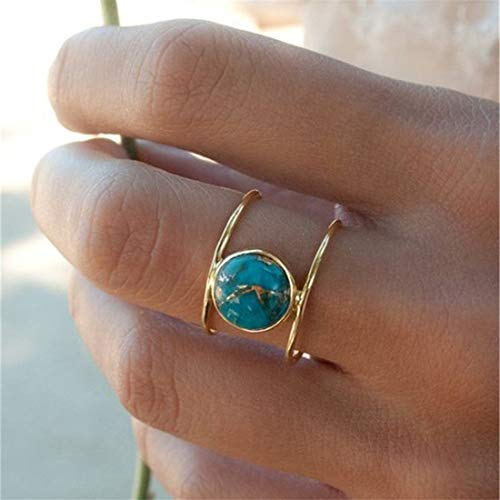 UINKE Vintage Bohemian Oval Turquoise Gemstone Ring Stacking Rings Wedding Promise Ring for - Charm Oval Turquoise