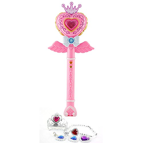 MyToy Kids Electric Sound Music Flash Light Magic Wand Toys for Children Plastic Musical Funny Become The Princess Toy for Girl -
