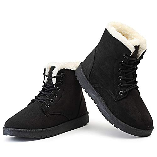 (High end Women Boots Winter Warm Plush Women Winter Boots Fur Ankle Boots Women Shoes Flock Fashion Lace Up,9B(M) US,Black)