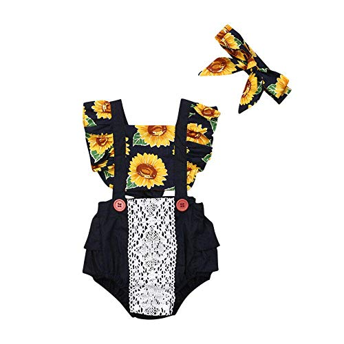 Newborn Baby Girl Sunflower Clothes Ruffle Sleeve Romper Bodysuit Spliced Jumpsuit Overalls Outfits with Headband Set Navy Blue ()