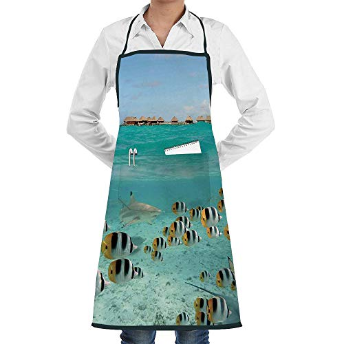 AngelSept Customizable Apron,Cross Back Apron, Apron Artist Overall,Bulk Aprons Adult Apron,Work Apron,Fully Adjustable,Machine Washabl,Apron with Pockets Butterfly Fish Lagoon of Bora Bora Tahiti