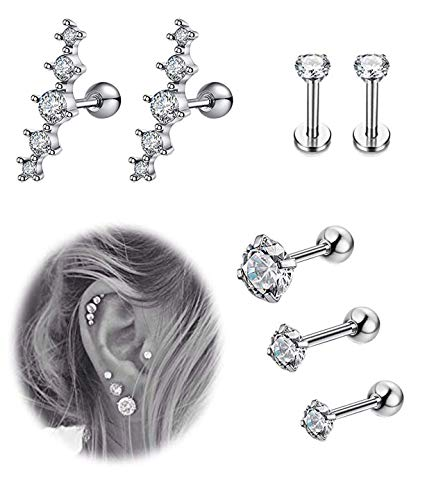 (YOVORO 7Pcs 16G Stainless Steel Cartilage CZ Stud Earrings for Women Girls Helix Tragus Daith Piercing Jewelry S1)