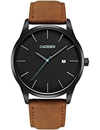 Watch VOEONS Mens Watches Brown Leather Classical Casual...