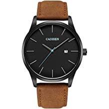 Watch VOEONS Mens Watches Brown Leather Classical Casual Clearance Wrist Watch for Men