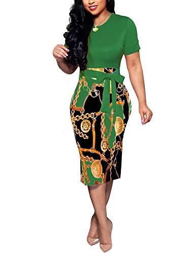 Women' Short Sleeve Bodycon Dress -Cute Bowknot Floral Pencil Dress X-Large Green