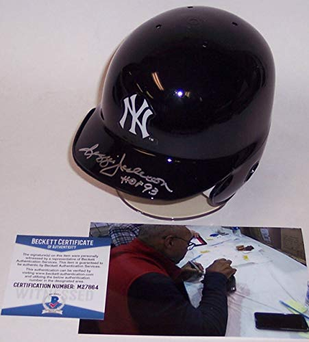 Reggie Jackson Autographed Hand Signed NY New York Yankees Mini Batting Helmet - with Hall of Fame 93 Inscription - BAS Beckett Authentication