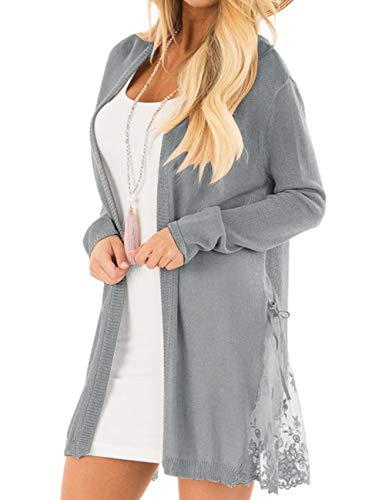 LookbookStore Women Long Open Front Lightweight Grey Cardigan Sweater Soft Crochet Lace Knit Outerwear Size L 12 14