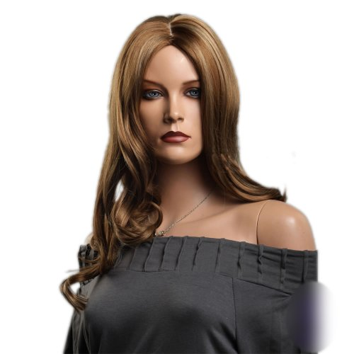 SexyLong Light Brown Curly Big Waves center part soft layered flowing curls Hair Style Women Wig -