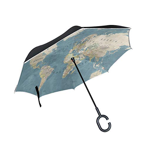 Inverted Umbrella Education Area Rug Double Layer Reverse Umbrella for Car Windproof UV Protection Big Straight with C-Shaped Handle