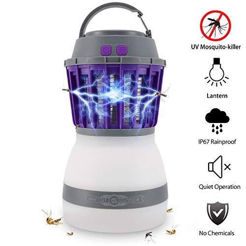 Bug Zapper Lamp-Mosquito Zapper Lamp-2-In-1 Zapper Lantern Charge Via USB-Lightweight Camping Gear & Accessories For The Outdoors & Emergencies-IP67 Waterproof-Compact-For Outdoor Camping & Home Use by Zanskar