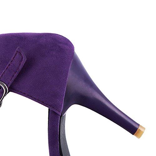 Boucle Ouverture Sandales femme AalarDom D'Orteil 5cm Violet 8 Unie Couleur wq1FxaS