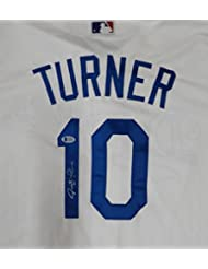Los Angeles Dodgers Justin Turner Autographed White Majestic Cool Base Jersey Size XL Beckett BAS