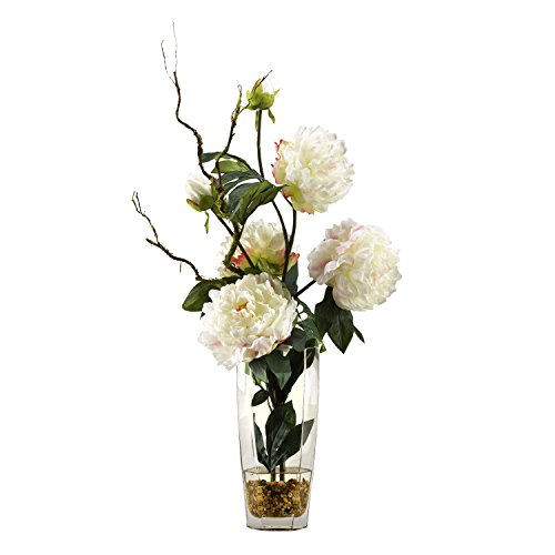 Large Foliage Plants (D & W Silks 174036 Large White Peonies in Glass Vase, White/Green/Clear)