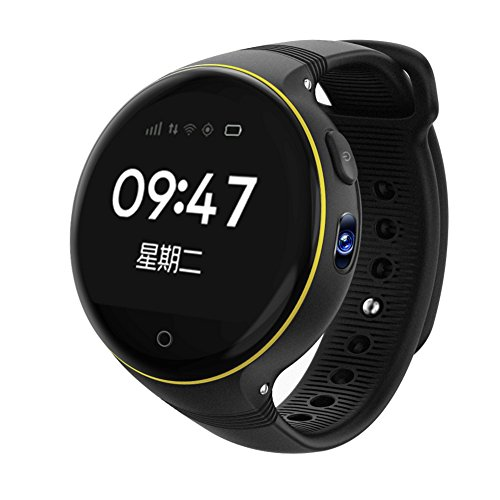 Smart Watch for Kids, 1.22 inches Round Screen GPS Tracker with Camera GSM SIM Calls Anti-lost SOS Smart Bracelet for Children Girls Boys - Black