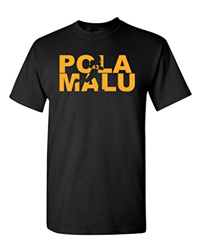 Polamalu Fan Wear Football Sports Adult T-Shirt Tee (X Large, Black w/Gold)