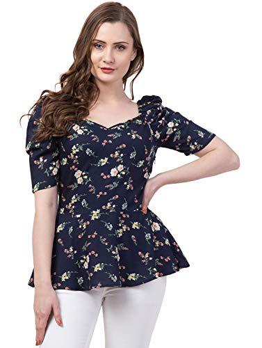 ZUVINO Women's Rayon Floral Peplum Top with Princess Sleeve; Office wear, Summer Wear