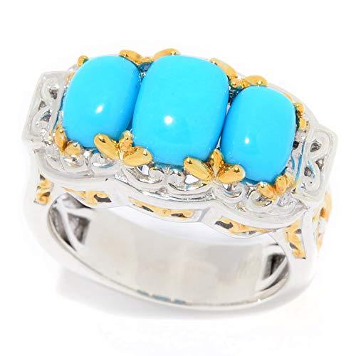Michael Valitutti Palladium Silver Cushion Cut Blue Crown Turquoise 3-Stone Ring (Cut Turquoise Cushion Ring)