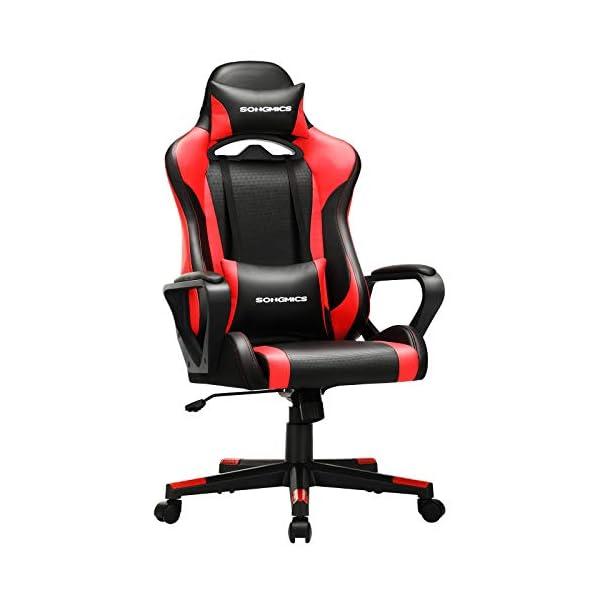 SONGMICS Fauteuil gamer, Chaise de bureau, Siège ergonomique, avec support lombaire réglable, appui-tête amovible…