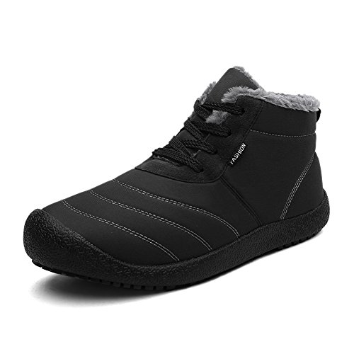 CIOR Men and Women Snow Boots Fur Lined Winter Outdoor Slip On Shoes Ankle Boots.black-44