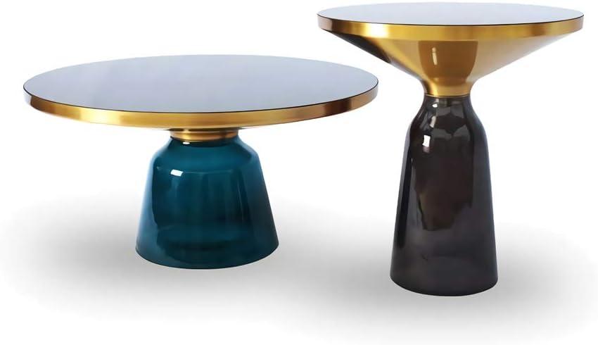Klassiek ZRRtables 2-delige set glazen tafel salontafel modern woonkamertafel ronde bijzettafel mini salontafel met metalen frame van messing voor thuis, woonkamer, eetkamer D YGO0cJm