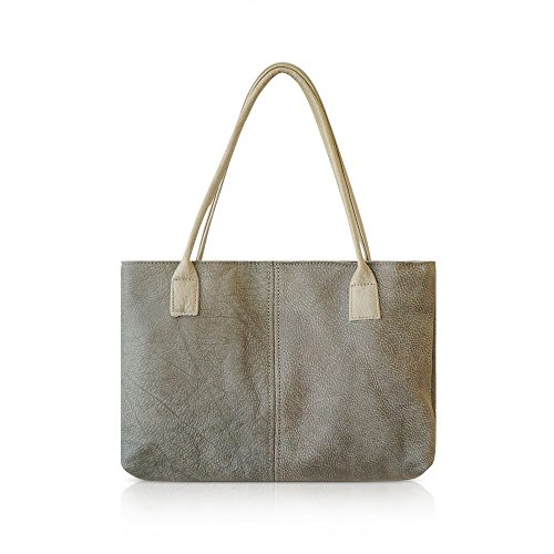 Handmade Durable Simple Everyday Women's Italian Leather Tote Shoulder Bag / Medium Size Leather Work Bag grey by sis handbags