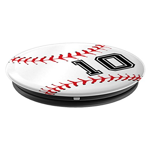 Baseball Player #10 Back Jersey No 10 Baseball Sports Gift - PopSockets Grip and Stand for Phones and Tablets